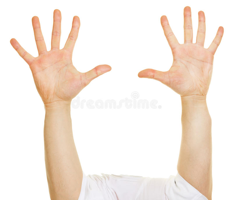 Tio lyftta fingrar på två händer royaltyfri fotografi