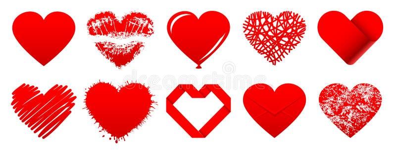 Tio olika symboler för röda hjärtor stock illustrationer