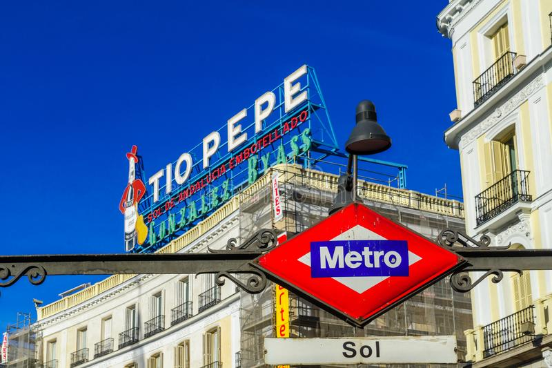Tio Pepe sign, and the Metro station sign, in Madrid stock photo