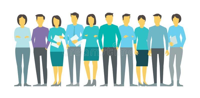 Tio personer i linjen image för gruppaffärslag din vektor för bruk för designillustrationmateriel royaltyfri illustrationer