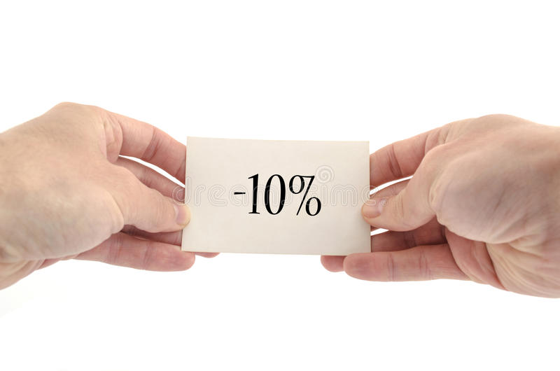 Tio procent textbegrepp royaltyfri bild