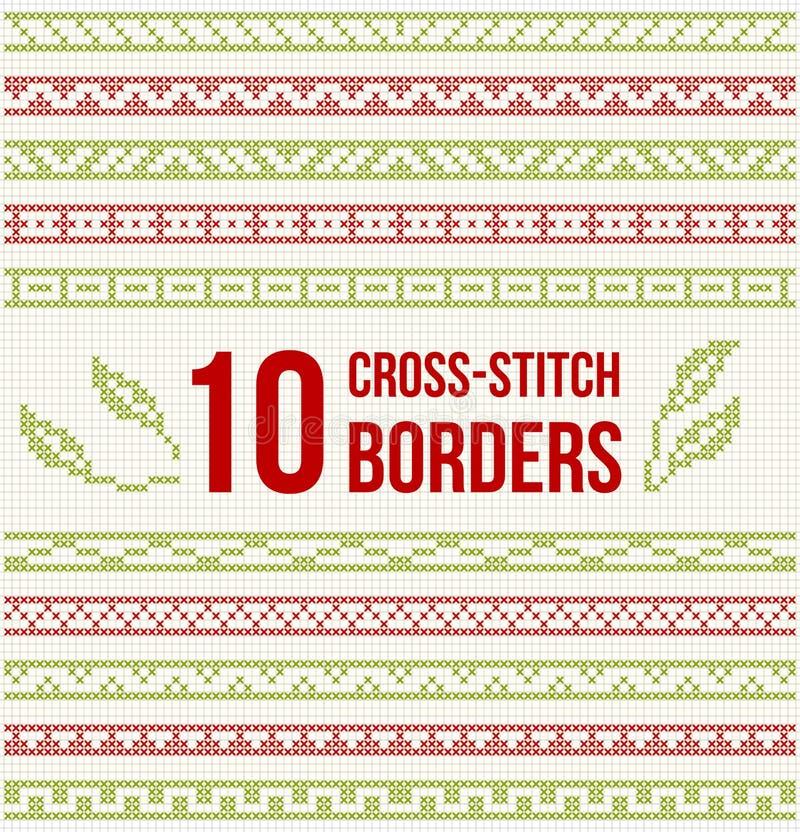 Tio sömlösa gränser för korsstygnbroderi stock illustrationer