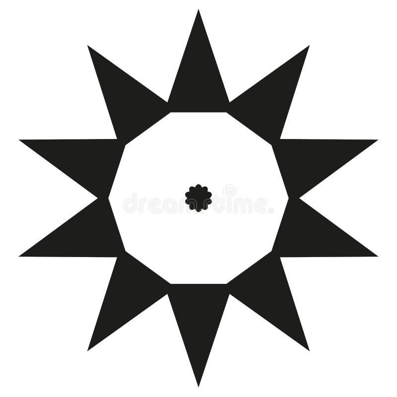 Tio sidor pekade den stora triangeln för pricken för mallen för solen för stjärnalogosvart vektor illustrationer