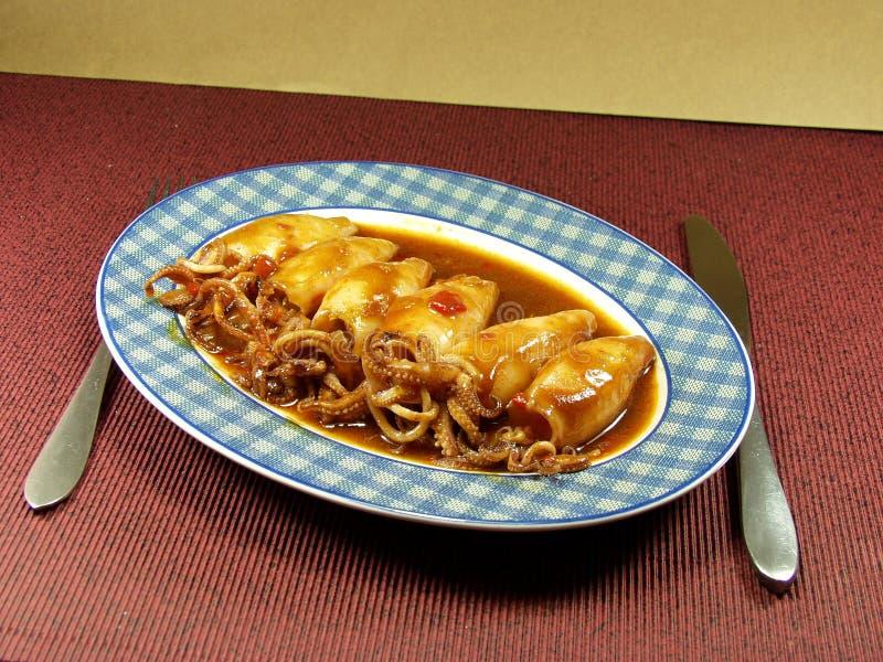 Download Tioarmad bläckfisk arkivfoto. Bild av fett, soup, calamari - 985662