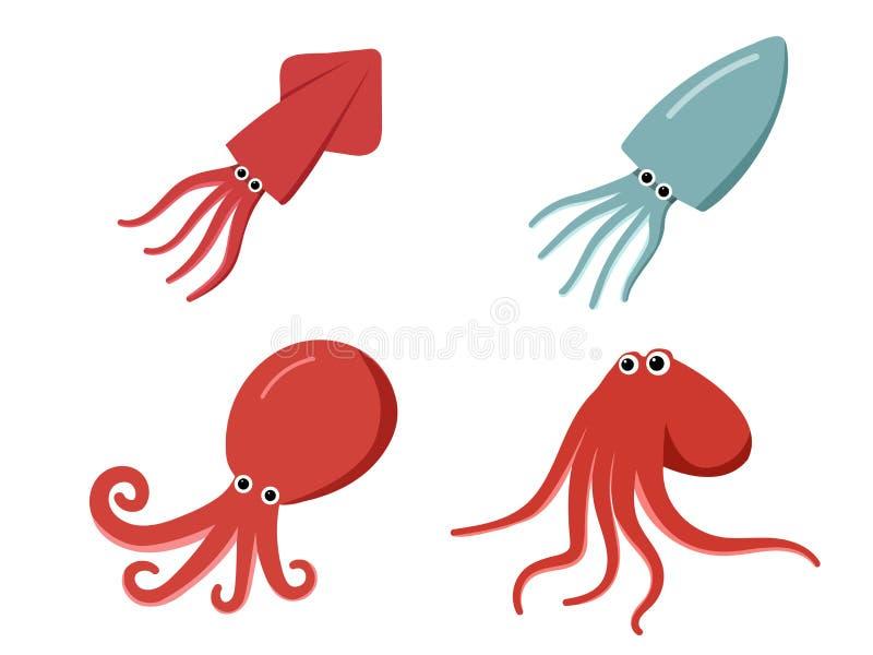 Tioarmad bläckfisk, bläckfisk och bläckfisk i lägenheten, vektor vektor illustrationer