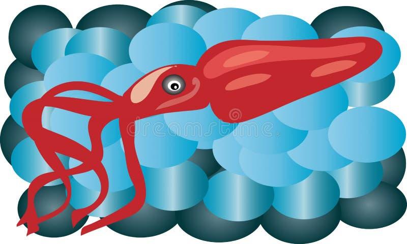 Tioarmad bläckfisk vid havet arkivfoton