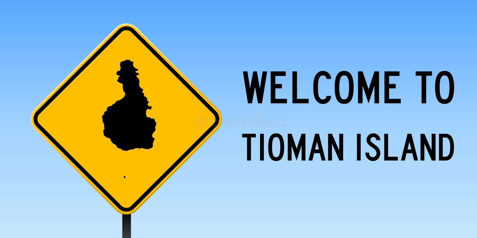 Tioman Island map on road sign. Wide poster with Tioman Island island map on yellow rhomb road sign. Vector illustration vector illustration