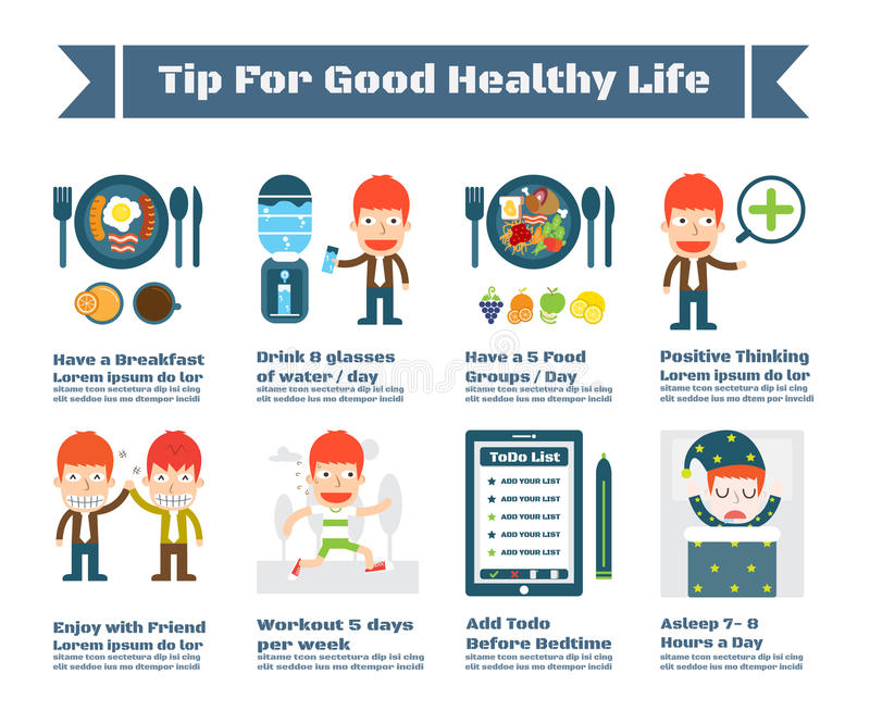 Tip For Good Health Life. Vector Infographic Elements royalty free illustration