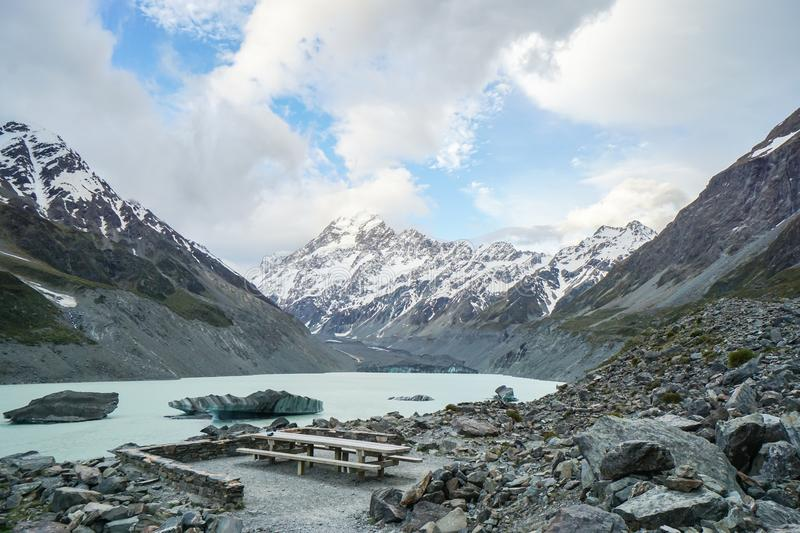 Top ceberg with floating ices on blue lake in Mount Cook New Zealand stock photos