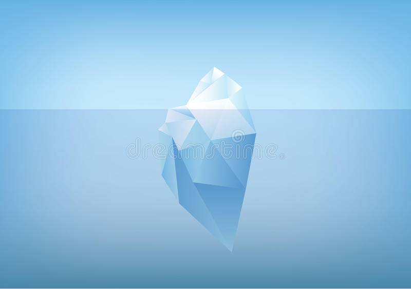 Tip of the iceberg illustration -low poly /polygon graphic royalty free illustration