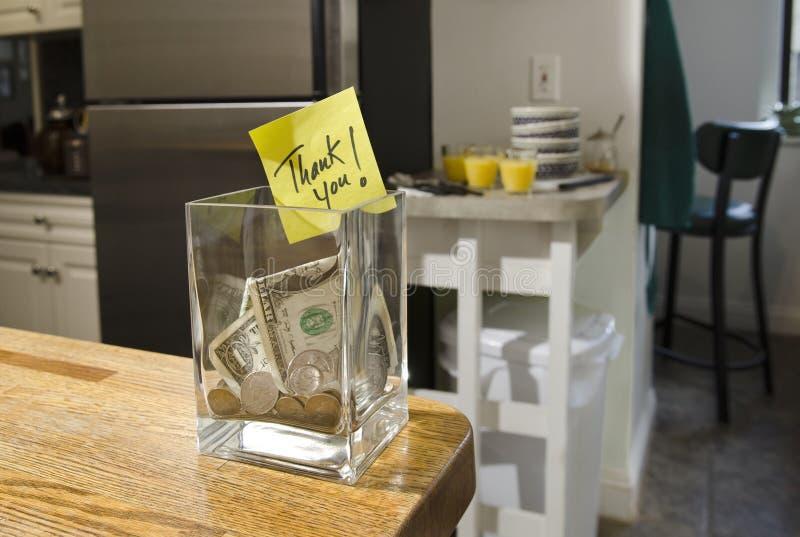 Download Tip jar in home kitchen stock photo. Image of orange - 28467844
