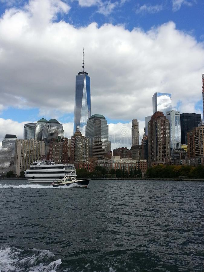 Tip of Manhattan showing Freedom Tower. Water view of tip of Manhattan, New York, showing new Freedom Tower, with boats stock photography