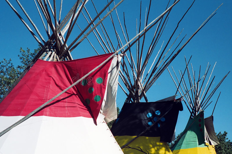 Indian Colorfull Teepee. Exposition in Calgary, Alberta, Canada royalty free stock images