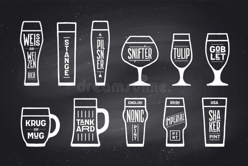 Tipi della cristalleria della birra del manifesto illustrazione di stock