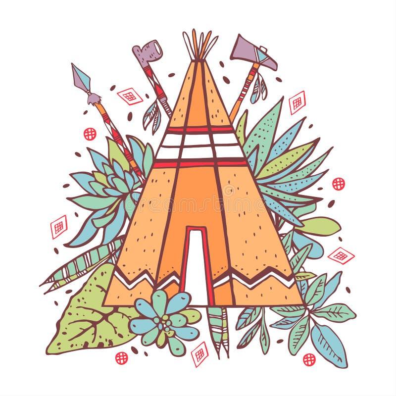 Tipi des amerikanischen Ureinwohners mit Succulents, Anlagen und Waffen auf Hintergrund Vektorhandgezogene Entwurfsfarbgekritzel- lizenzfreie abbildung