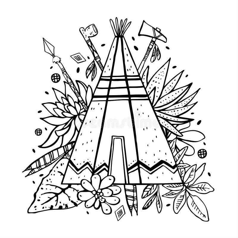 Tipi des amerikanischen Ureinwohners mit Succulents, Anlagen und Waffen auf Hintergrund Vektorhandgezogene Entwurfsgekritzel-Skiz lizenzfreie abbildung