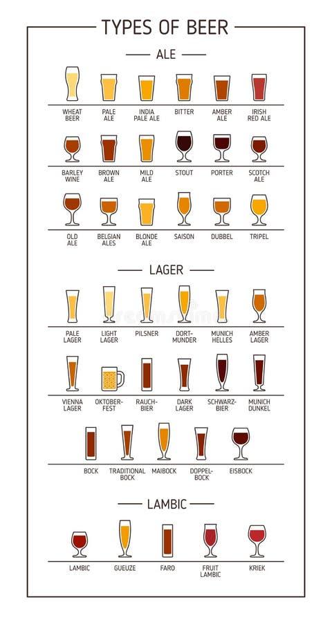 Tipi di birre Vari tipi di birre in vetri raccomandati Illustrazione di vettore royalty illustrazione gratis