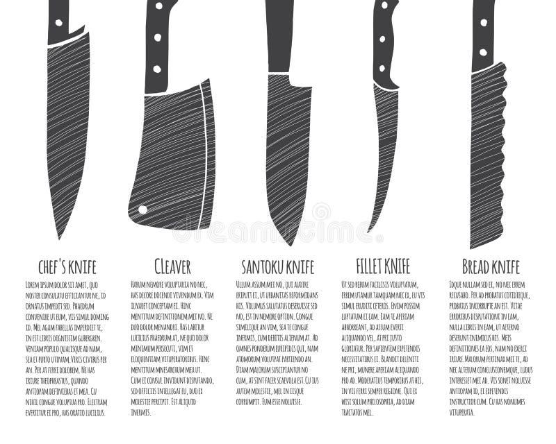 Tipi di coltelli da cucina illustrazione vettoriale illustrazione di background 71951048 - Tipi di coltelli da cucina ...