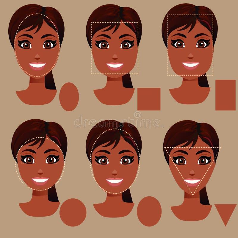 Tipi di forma del fronte della donna illustrazione vettoriale