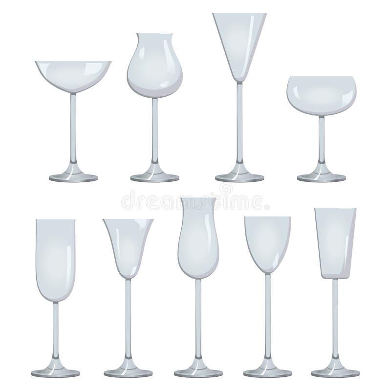 Tipi di insiemi di descrizione di vetro e del vino dei tipi scintillare bianco rosso di vetro e del vino e di vini liquorosi royalty illustrazione gratis