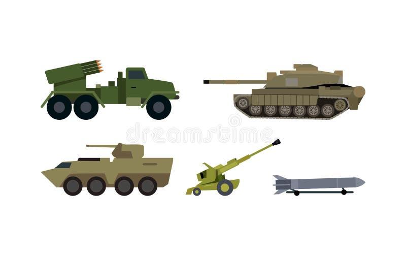 Tipi di insiemi piani di vettore dell'armamento moderno illustrazione di stock