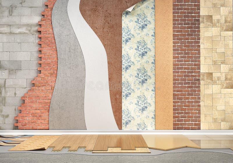 Tipi di rivestimenti Installazione della pavimentazione illustrazione di stock