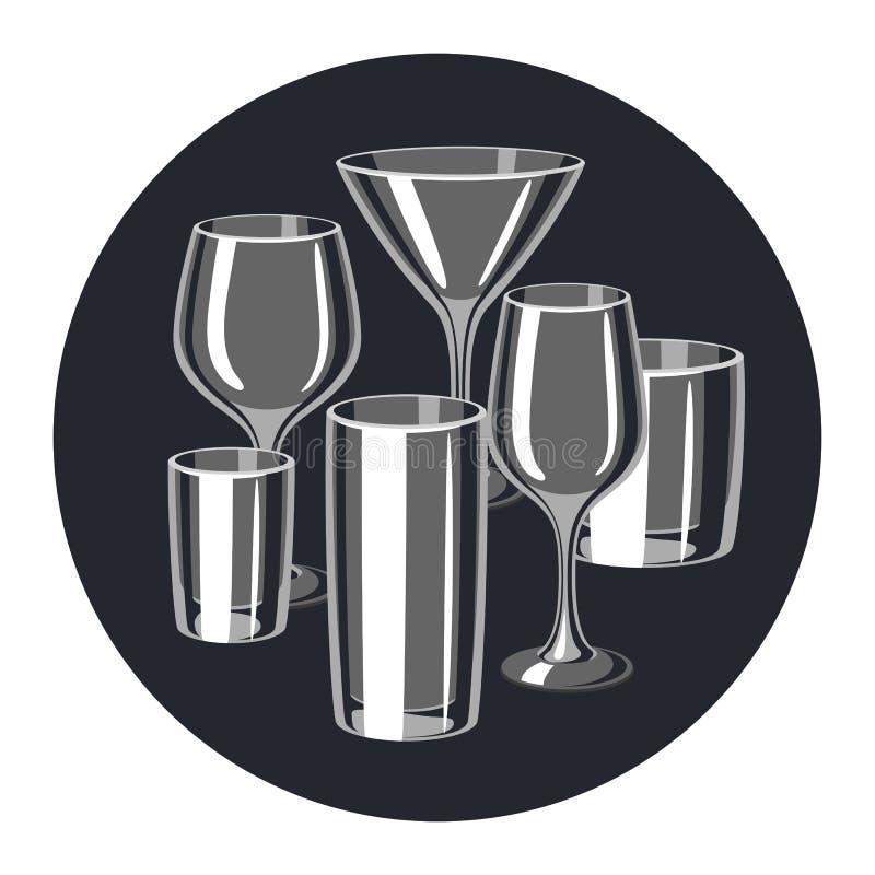 Tipi di vetri della barra Insieme della cristalleria dell'alcool royalty illustrazione gratis