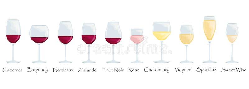 Tipi di vetri di vino Illustrazione piana del fumetto di vettore Vetri isolati con rosso, bianco ed i vini rosati royalty illustrazione gratis