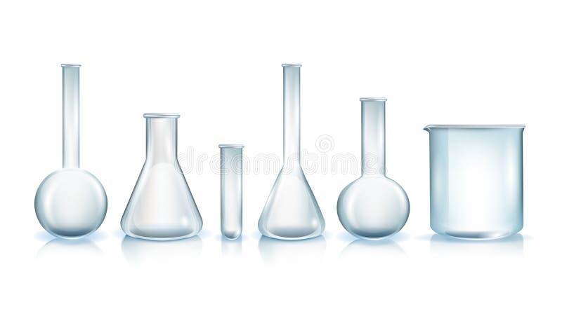 Tipi di vettori realistici della vetreria per laboratorio royalty illustrazione gratis