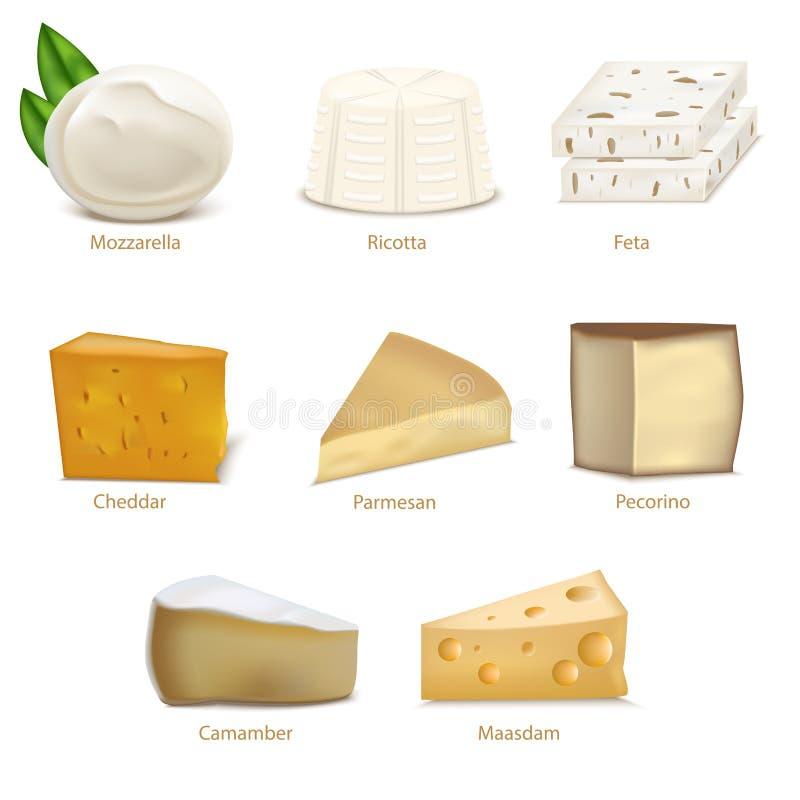 Tipi differenti del formaggio dettagliato realistico 3d messi Vettore illustrazione vettoriale