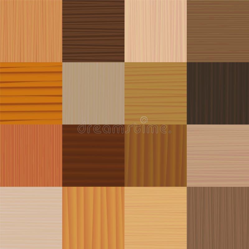 Tipi differenti del pavimento di parquet di legno illustrazione vettoriale