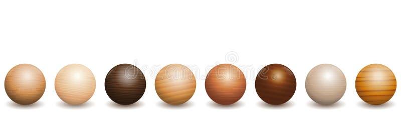 Tipi differenti delle palle di legno di legno illustrazione vettoriale