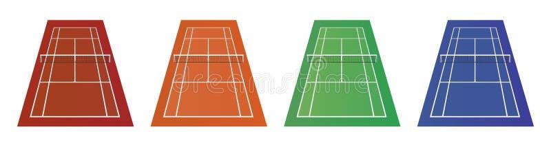 Tipi differenti di campi da tennis - argilla, erba ed altra illustrazione di stock