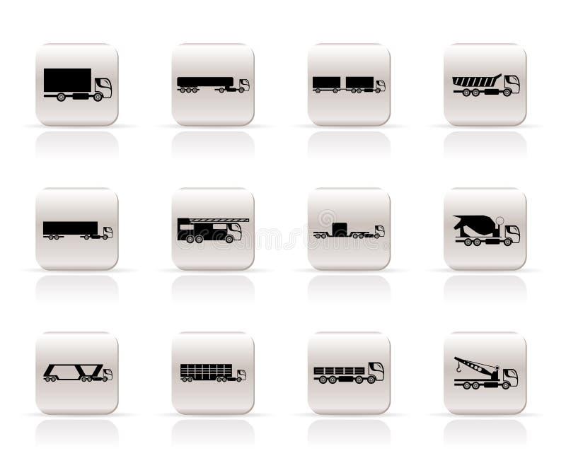 Tipi differenti di icone dei camion e dei camion illustrazione vettoriale