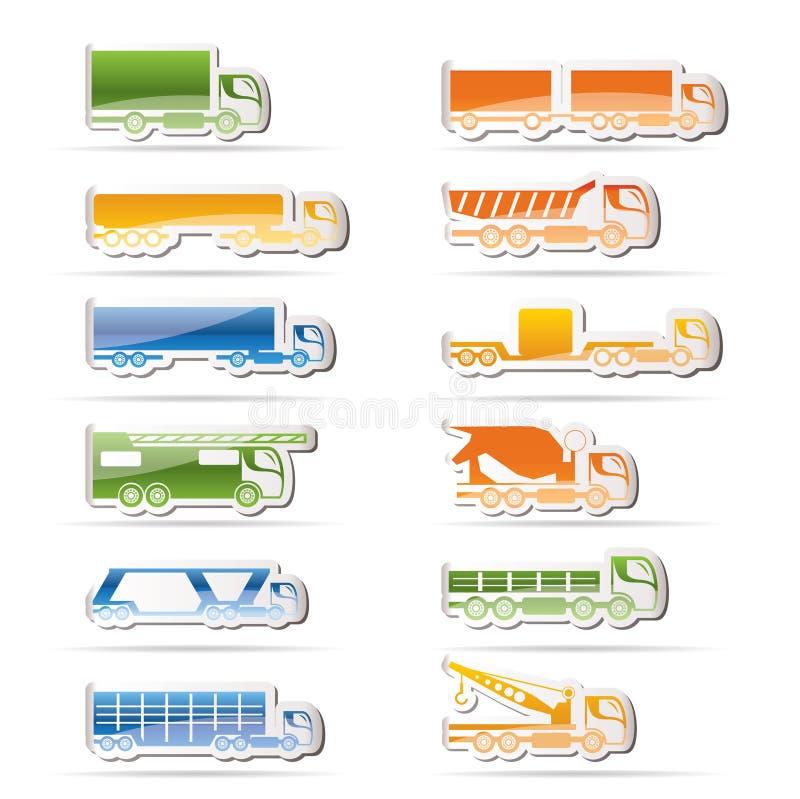Tipi differenti di icone dei camion e dei camion royalty illustrazione gratis