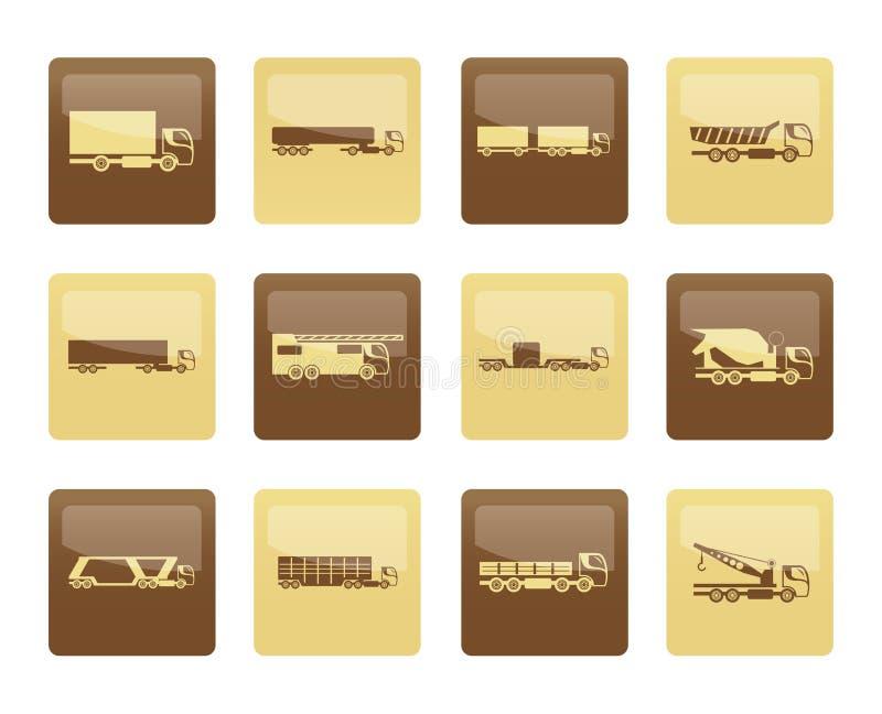 Tipi differenti di icone dei camion e dei camion sopra fondo marrone royalty illustrazione gratis