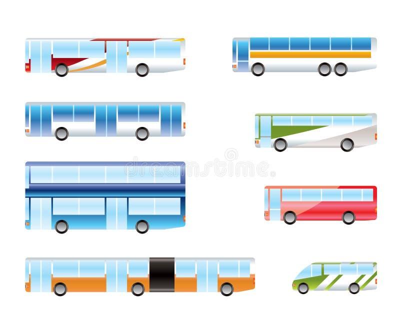 Tipi differenti di icone del bus illustrazione di stock