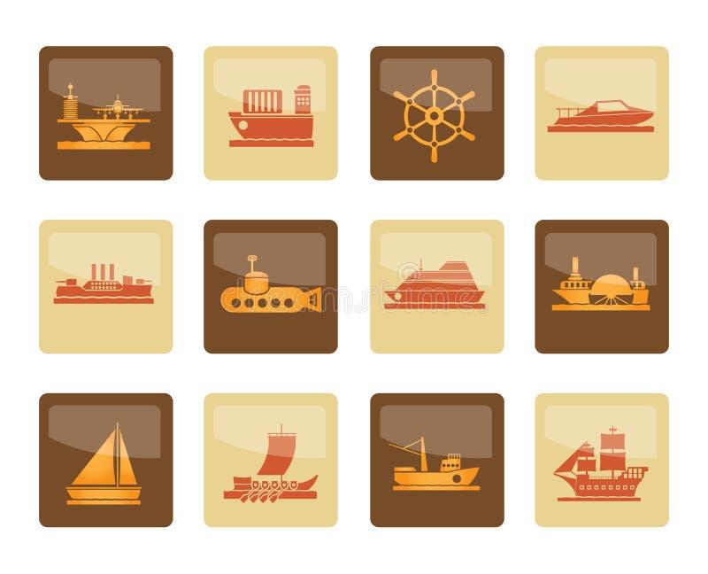 tipi differenti di icone della nave e della barca sopra fondo marrone royalty illustrazione gratis