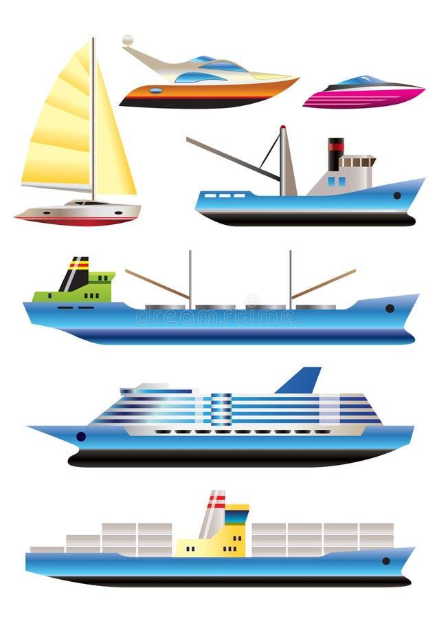 Tipi differenti di icone della nave e della barca illustrazione di stock