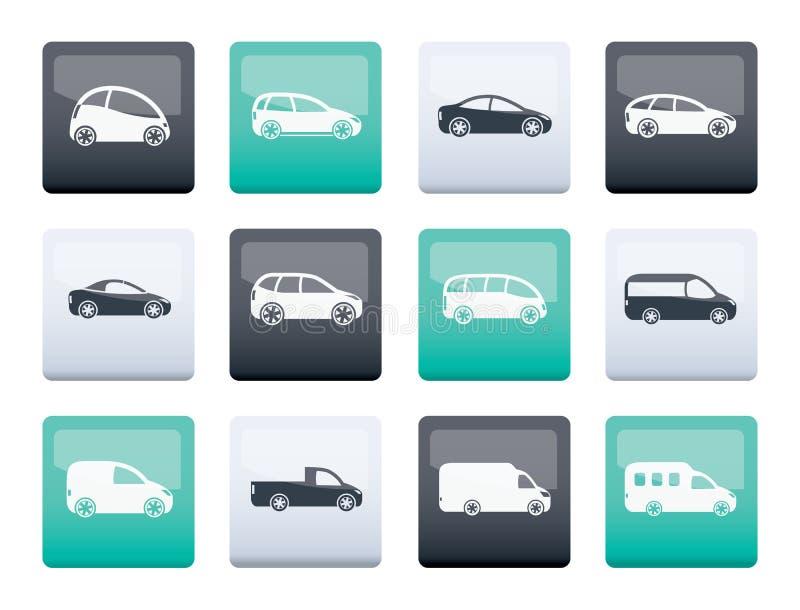 Tipi differenti di icone delle automobili sopra il fondo di colore illustrazione vettoriale