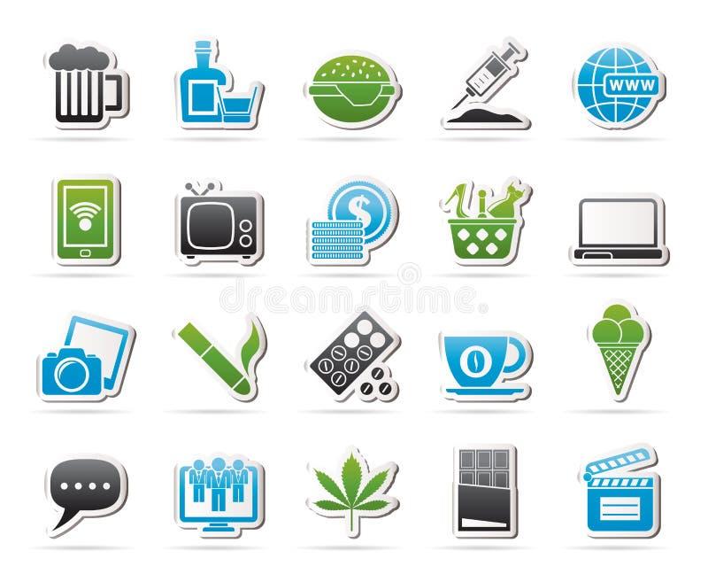Tipi differenti di icone di dipendenze royalty illustrazione gratis
