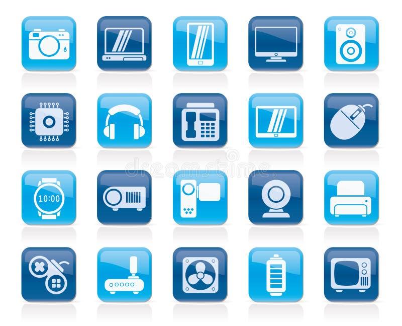 tipi differenti di icone di elettronica illustrazione di stock