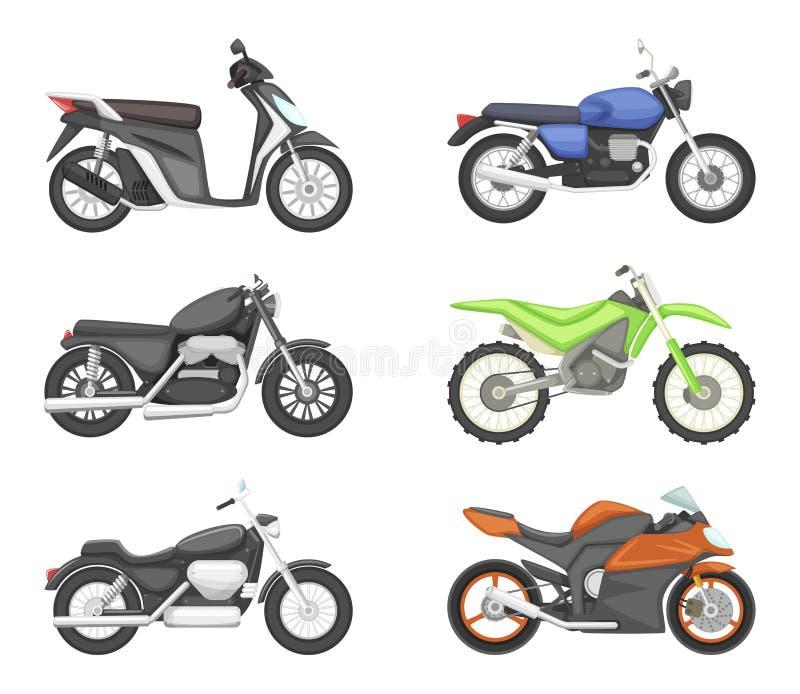 Tipi differenti di motocicli Illustrazioni stabilite di vettore nello stile del fumetto royalty illustrazione gratis