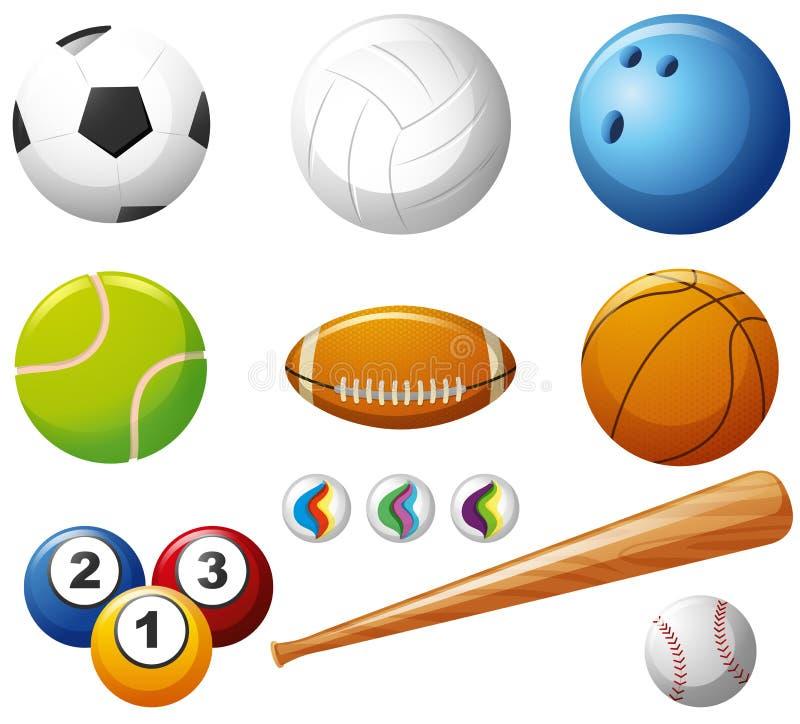 Tipi differenti di palle su fondo bianco illustrazione vettoriale
