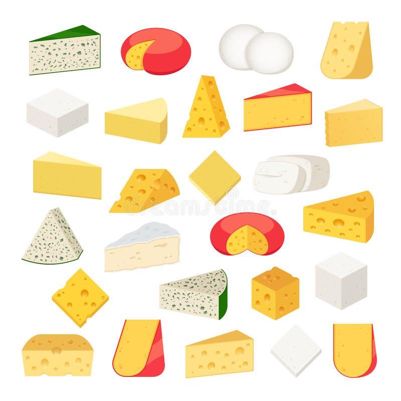 Tipi differenti di vettore di icone dettagliate del formaggio royalty illustrazione gratis