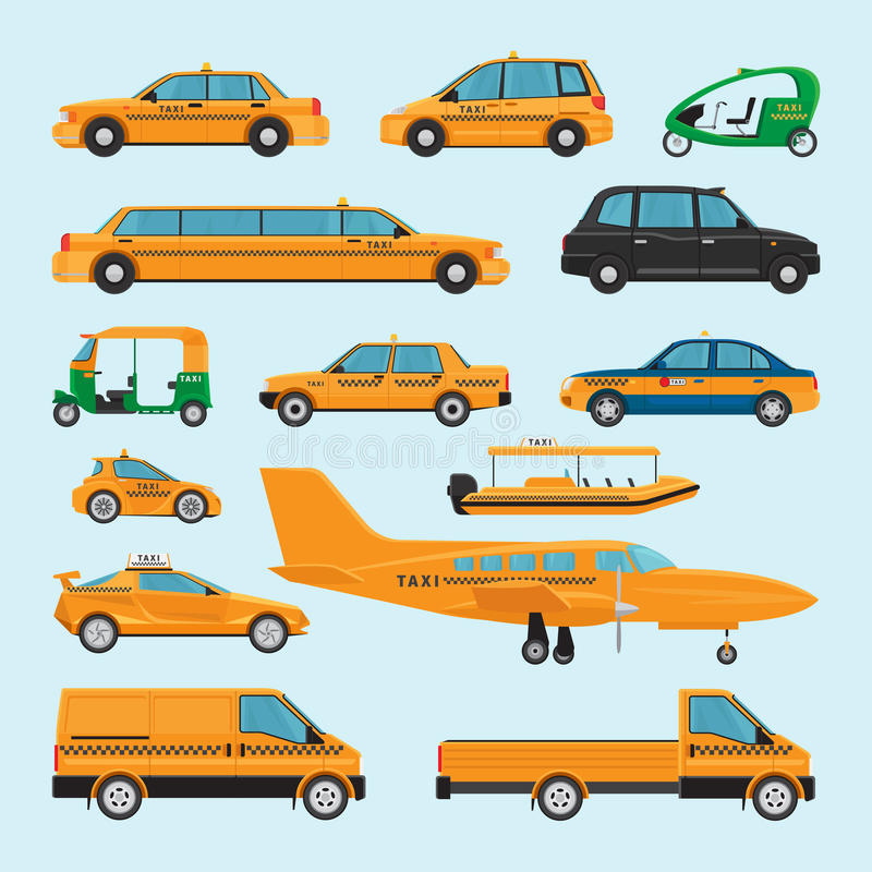 Tipi differenti icone del taxi illustrazione vettoriale