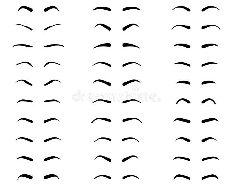 Tipi e forme di sopracciglia illustrazione vettoriale