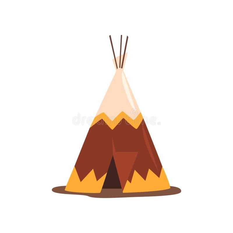 Tipi eller vigvam, bo av norr nationer av Kanada, Sibirien, Nordamerika vektorillustration på en vit bakgrund stock illustrationer