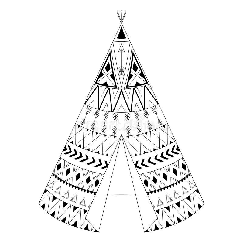 Tipi indigène américain tiré par la main avec l'élément ornemental ethnique illustration libre de droits