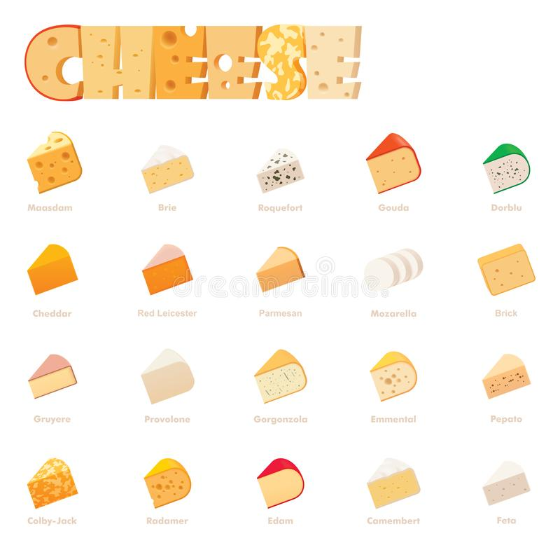 Tipi insieme del formaggio di vettore dell'icona illustrazione vettoriale